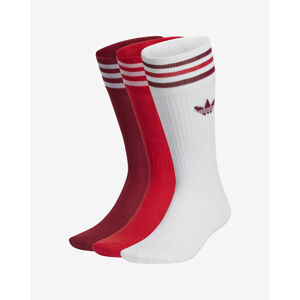 adidas Originals Solid Crew Zokni 3 pár Piros Fehér